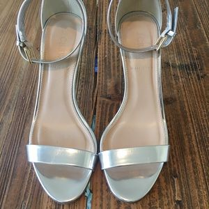 J. CREW Metallic Silver High Heel Sandals